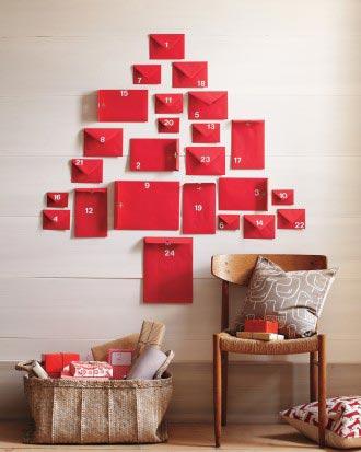 lækker udformet pakkekalender i rød