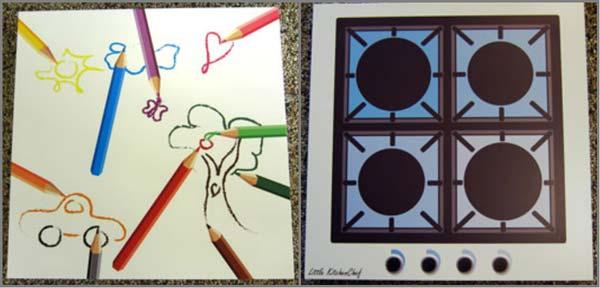 smarte borde med kogeplade eller tegninger til børn