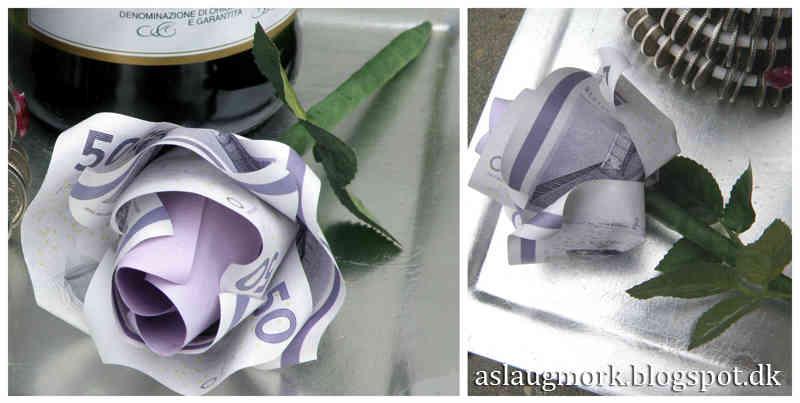 giv en smuk pengegave i form af en penge foldet som rose